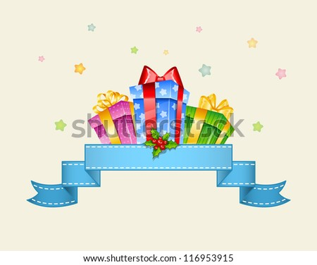 Colorful gift boxes with bows - stock photo