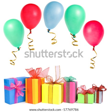 colorful gift boxes with colored balls , card , isolated on white background