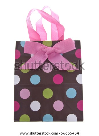Colorful Gift or Shopping Bag Isolated on White with a Clipping Path. - stock photo