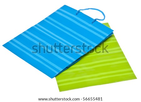 Colorful Gift or Shopping Bag Isolated on White with a Clipping Path.