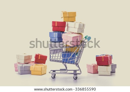colorful gifts box,supermarket shopping cart  #336855590