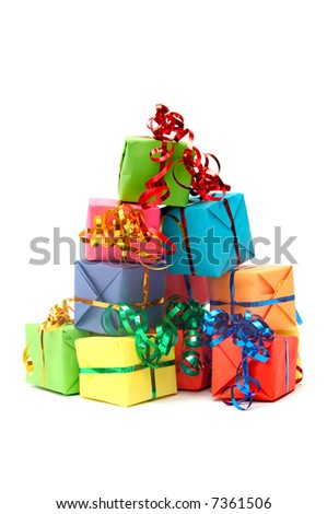 Colorful gifts with shining ribbons on white