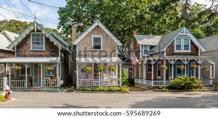 colorful gingerbread cottages...