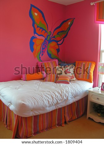 Colorful Girls Bedroom In A Home Interior Stock Photo 1