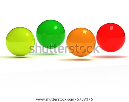 colorful glass balls in a row