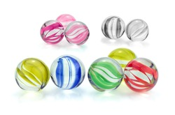 Colorful glass marbles isolated on white background