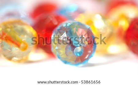 Colorful glass pearls,