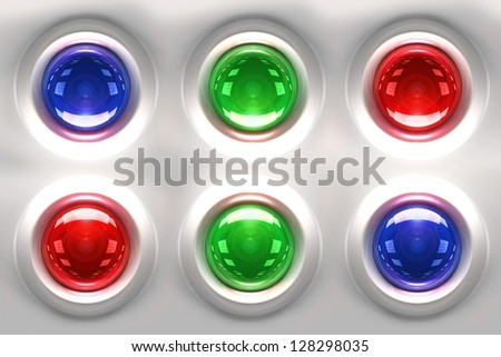 Colorful Glassy 3D Buttons Background. 3D Rendered Illustration.