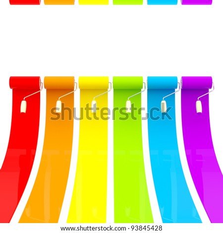 Colorful glossy bright rainbow paint rollers with color strokes