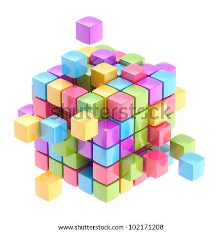 Colorful glossy cube abstract background isolated on white