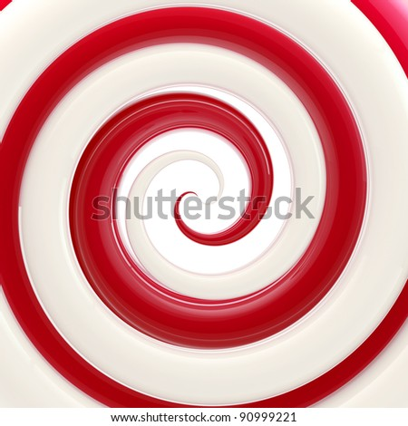 Colorful glossy red and white twirl as an abstract background