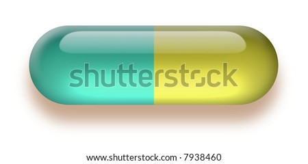Colorful glossy shining pill isolated on white