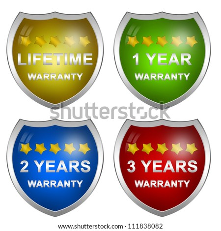 Colorful Glossy Style Customer Service Warranty Life Time, 1 Year, 2 Years and 3 Years Badge Isolated on White Background
