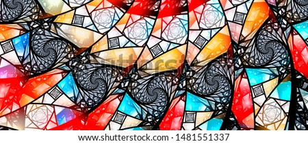 Colorful glowing stained glass with Fibonacci pattern, computer generated abstract background, 8k widescreen, 3D rendering