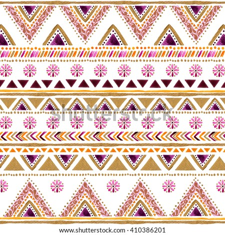 Colorful gold-purple handpainted backdrop.Arabic,Indian decorative watercolor  texture.Boho elements.Striped gold-purple style pattern background with design,stripes,triangles,ornaments,point and more