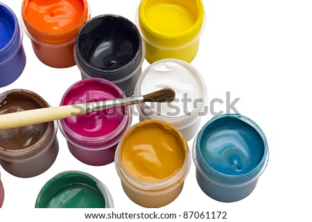 colorful gouache paint and brush isolated on white background