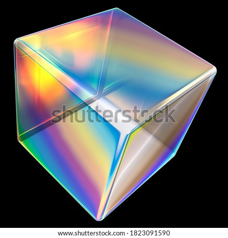 Colorful gradient cube shape design element isolated on black, dispersion effect, modern 3d geometric poster design inspiration. 3d rendering