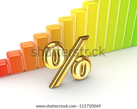 Colorful graph and percent symbol.Isolated on white background.3d rendered.