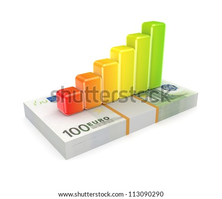 Colorful graph on a euro sign.Isolated on white background.3d rendered.