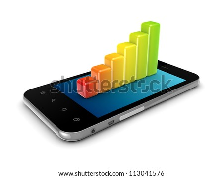 Colorful graph on a modern mobile phone.Isolated on white background.3d rendered.