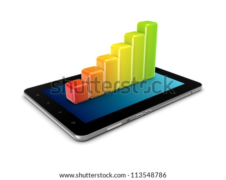 Colorful graph on a tablet PC.Isolated on white background.3d rendered.
