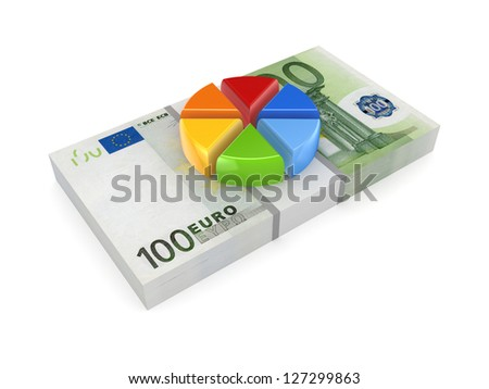 Colorful graph on pack of euro.Isolated on white background.3d rendered.