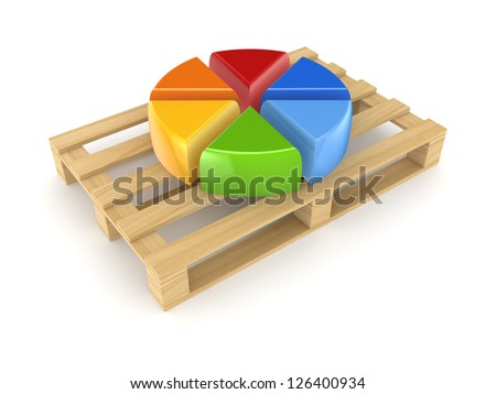 Colorful graph on pallet.Isolated on whte background.3d rendered.