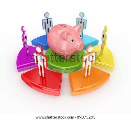 Colorful graph, piggy bank and 3d small people.Isolated on white background.