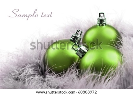 Colorful  green christmas balls with space for text