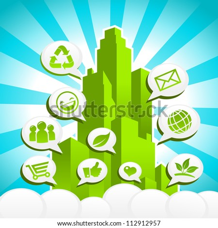 Colorful Green city with Eco and recycling icons in speech bubbles.