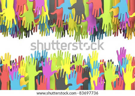Colorful group of hands reaching for another with clipping path