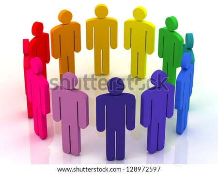 colorful group of people standing around on a white background