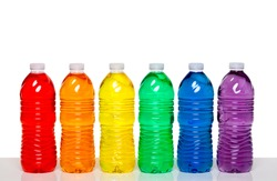 Colorful group of plastic bottles