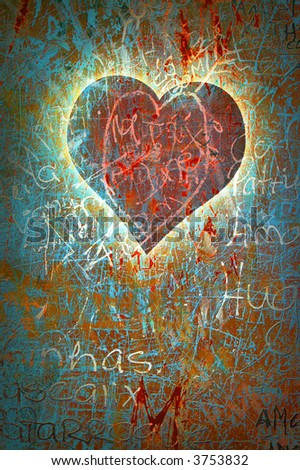 Colorful grunge background with graffiti, writings, a heart and a slight vignette. - stock photo