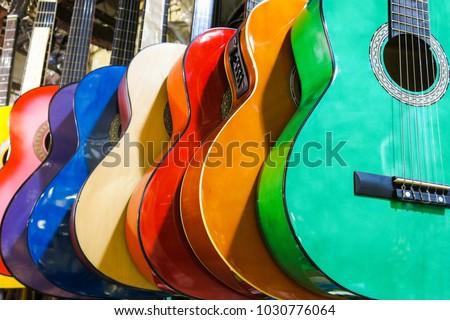 colorful guitars on the Istanbul Grand Bazaar.  Istambul, Turkey