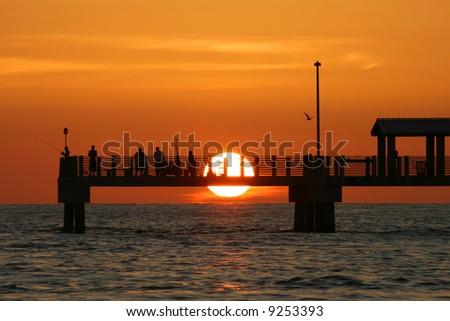 Colorful Gulf Coast Sunset. Fort De Soto Pier. Saint Petersburg Florida