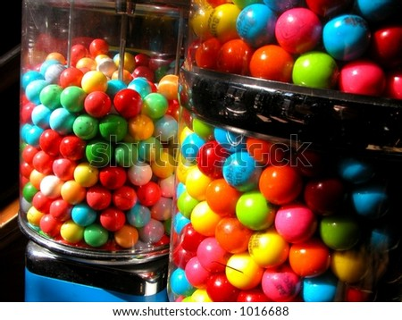 Colorful gum balls in candy machine