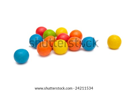 Colorful gumballs isolated on white. - stock photo
