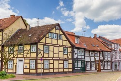 Colorful half-timbered houses in the historic center of Hameln, Germany