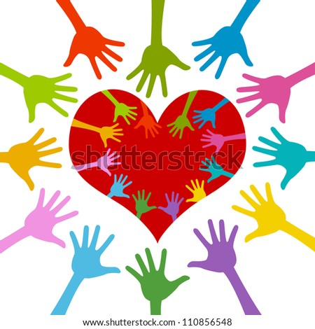 Colorful Hand Around and Inside Red Heart For Volunteer Campaign Isolated On White Background