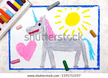 Colorful hand drawing: cute gray unicorn and big pink heart #1195712197