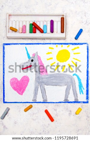 Colorful hand drawing: cute gray unicorn and big pink heart #1195728691