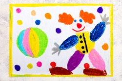 Colorful hand drawing: Friendly smiling clown and rainbow ball