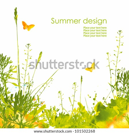 Colorful hand drawn design from watercolor stains. Grass, butterfly and splash of paint, isolated on white background