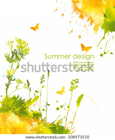 Colorful hand drawn design from watercolor stains Grass butterfly and splash of paint isolated on white background