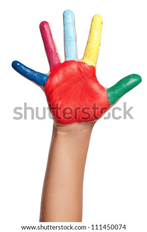 Colorful hand of the child isolated on white background