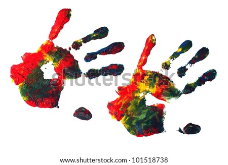 colorful hand prints with acrylic paint on white