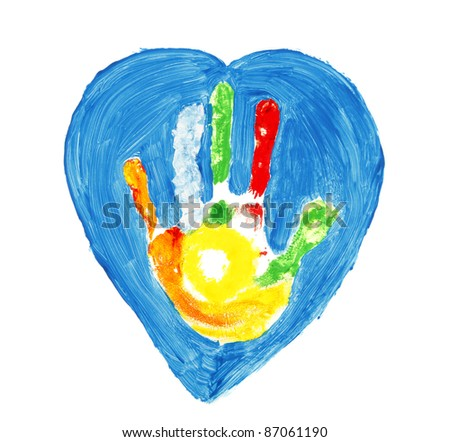 Colorful hand shape inside of a blue heart