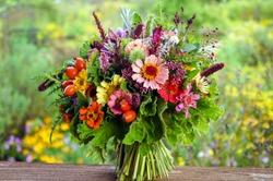 Colorful hand-tied bouquet of fresh garden flowers, herbs, scented geraniums, and rose hips
