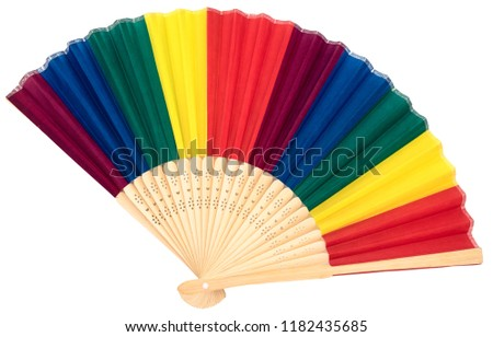 colorful handheld fan isolated on white background #1182435685